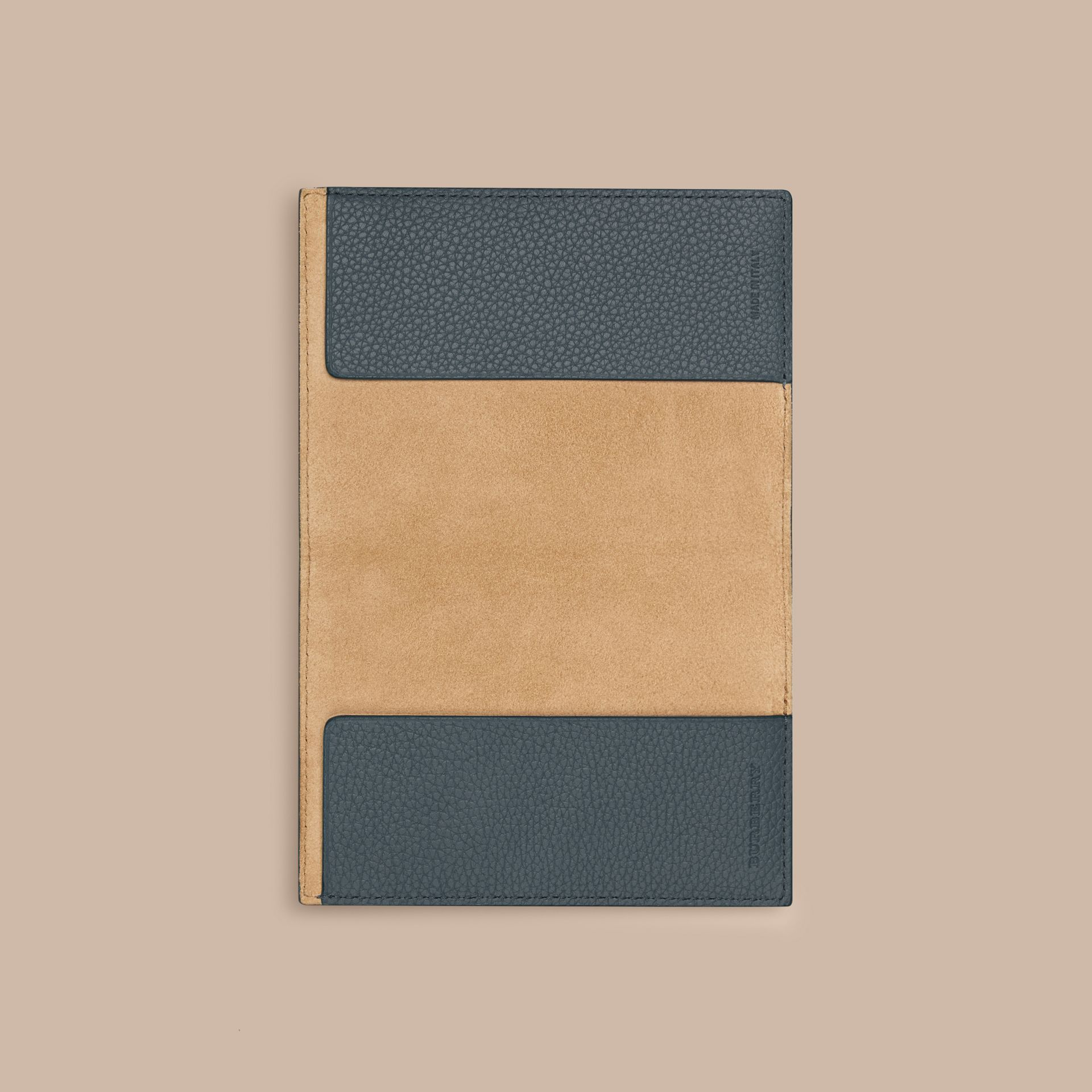 Grainy Leather Passport Cover in Dusty Teal | Burberry - gallery image 2