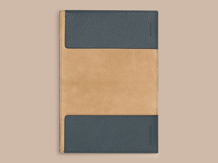 Grainy Leather Passport Cover in Dusty Teal | Burberry - cell image 1