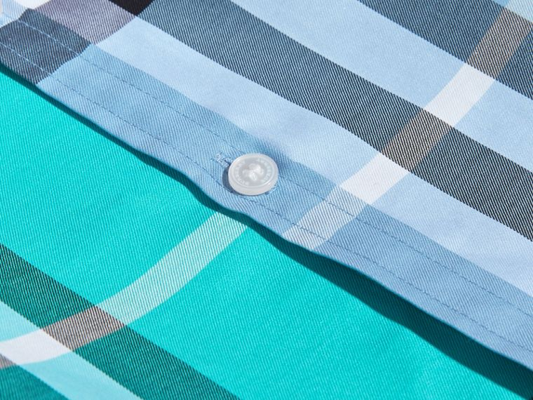Short-sleeved Contrast Check Cotton Shirt Cyan Green - cell image 1