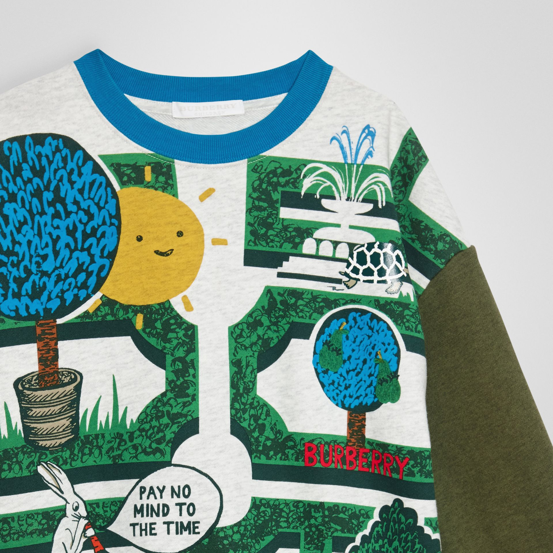 Hedge Maze Print Cotton Sweatshirt in Multicolour | Burberry - gallery image 3