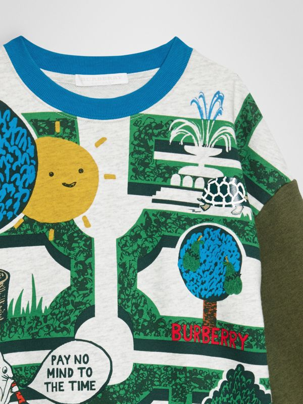 Hedge Maze Print Cotton Sweatshirt in Multicolour | Burberry - cell image 3