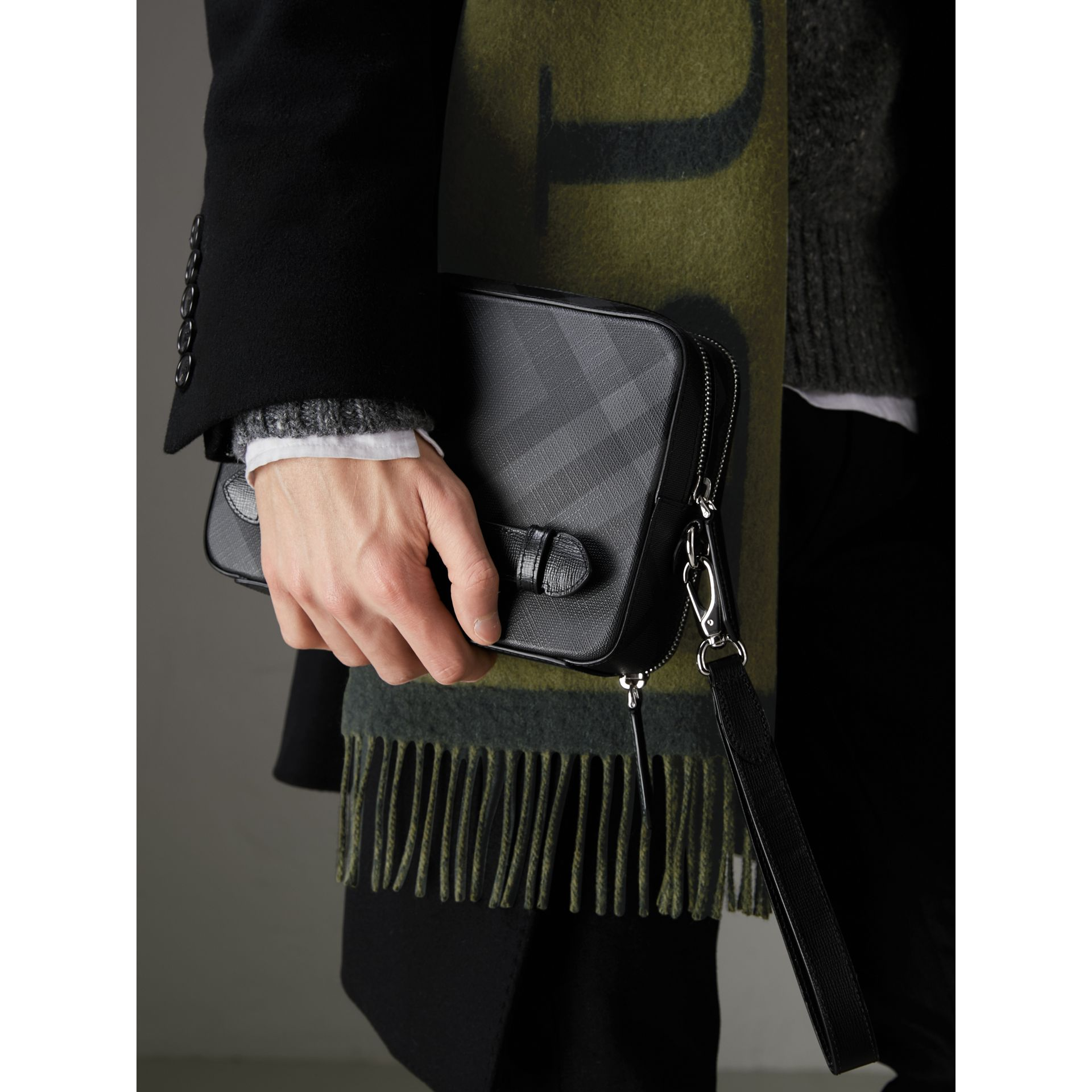 Leather-trimmed London Check Pouch in Charcoal/black | Burberry Canada - gallery image 3