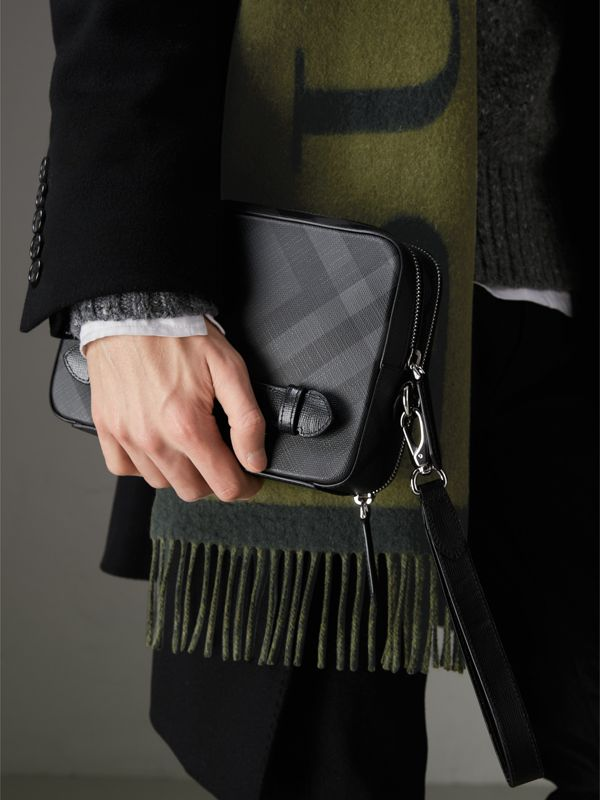 Leather-trimmed London Check Pouch in Charcoal/black | Burberry - cell image 3