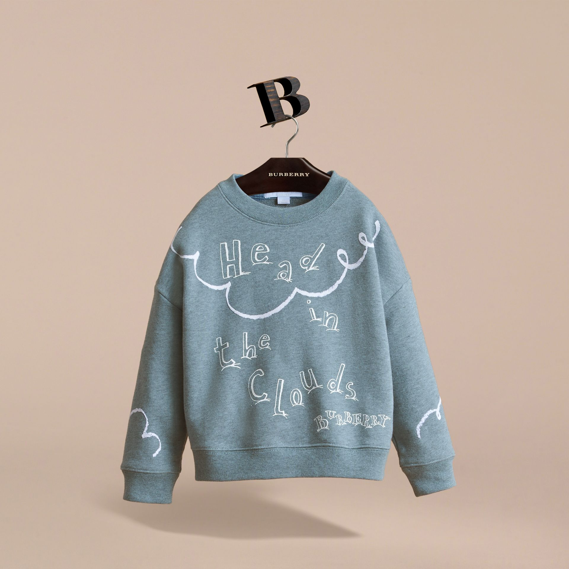 Head in the Clouds Print Cotton Sweatshirt in Powder Blue - Girl | Burberry - gallery image 3