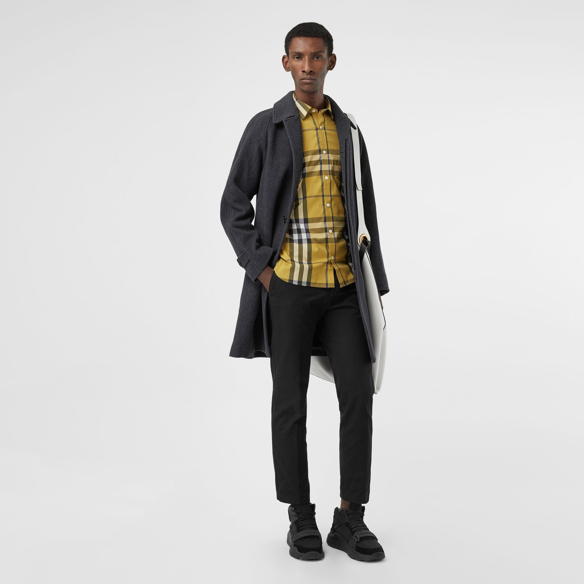 Check Stretch Cotton Shirt in Yellow - Men | Burberry - gallery image 4