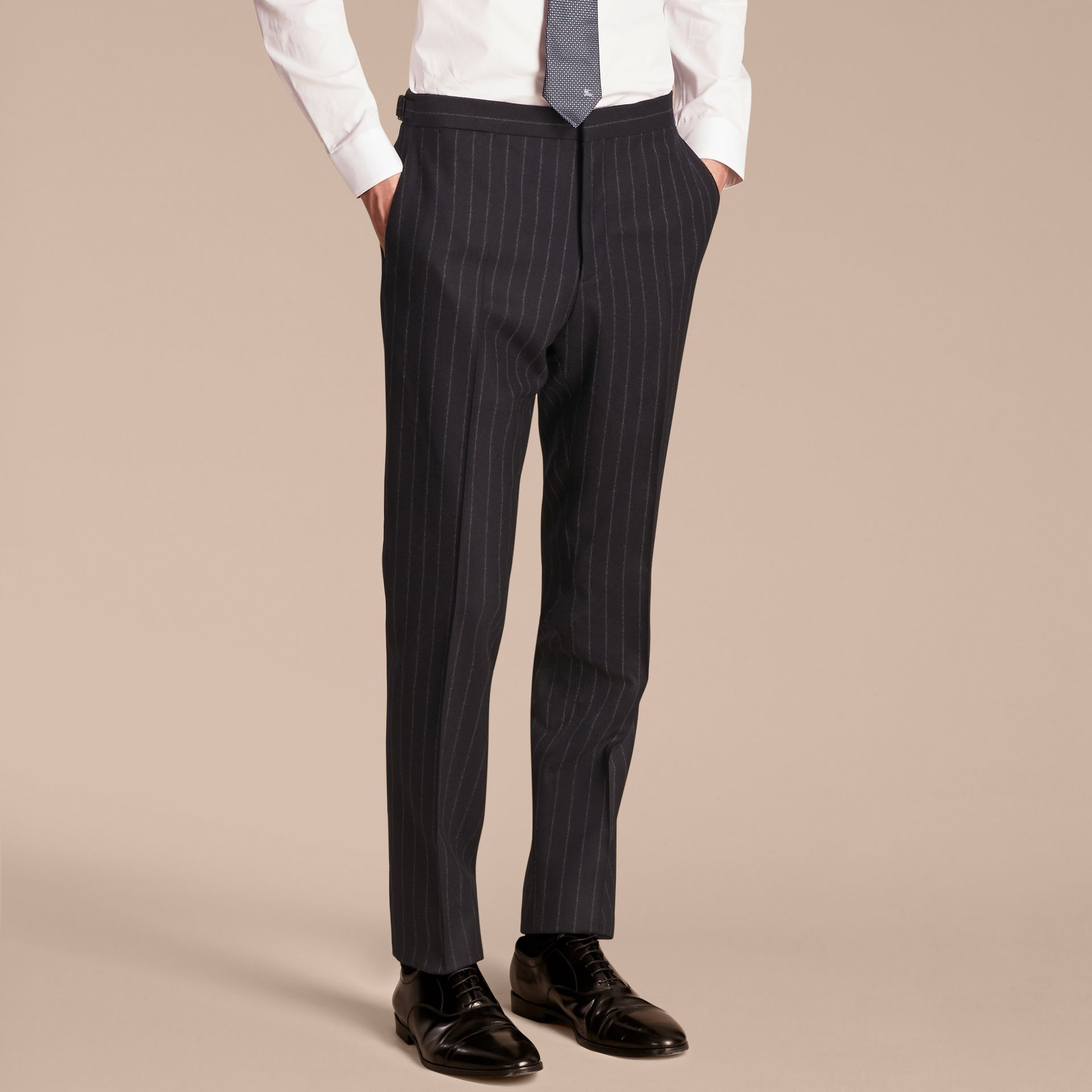 Navy Slim Fit Double-breasted Pinstripe Wool Suit - gallery image 9