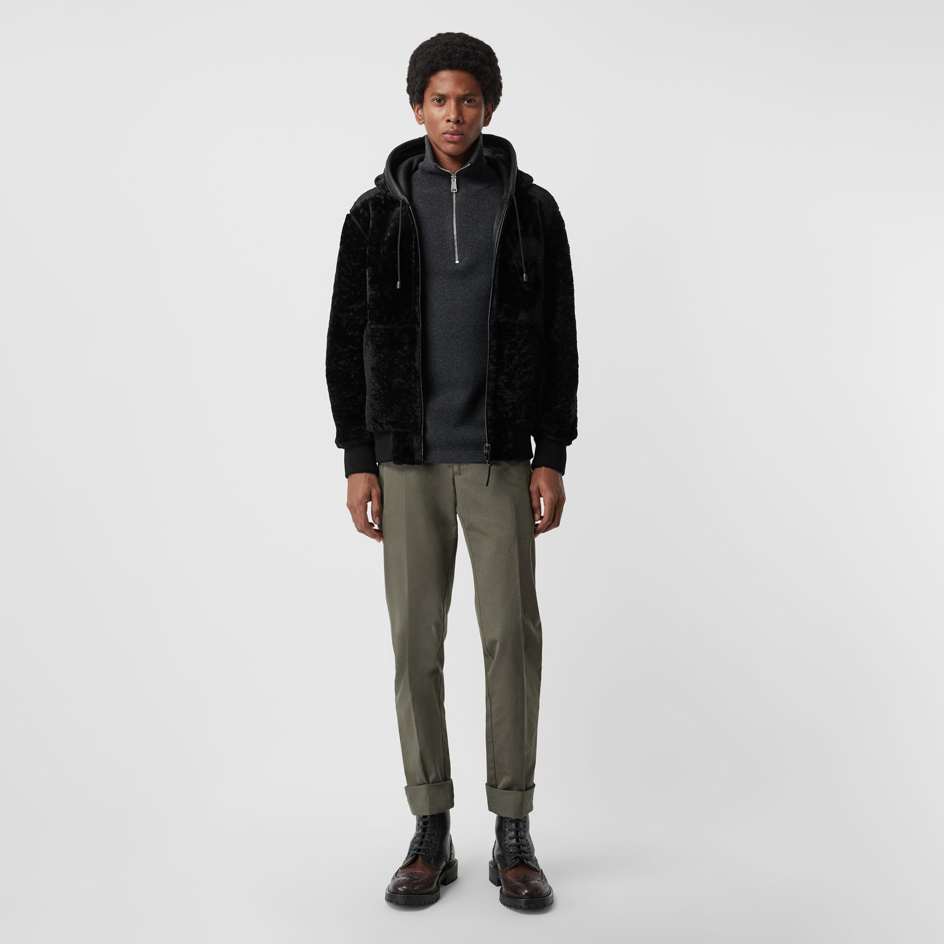 Reversible Shearling Hooded Bomber Jacket in Black - Men | Burberry - gallery image 0