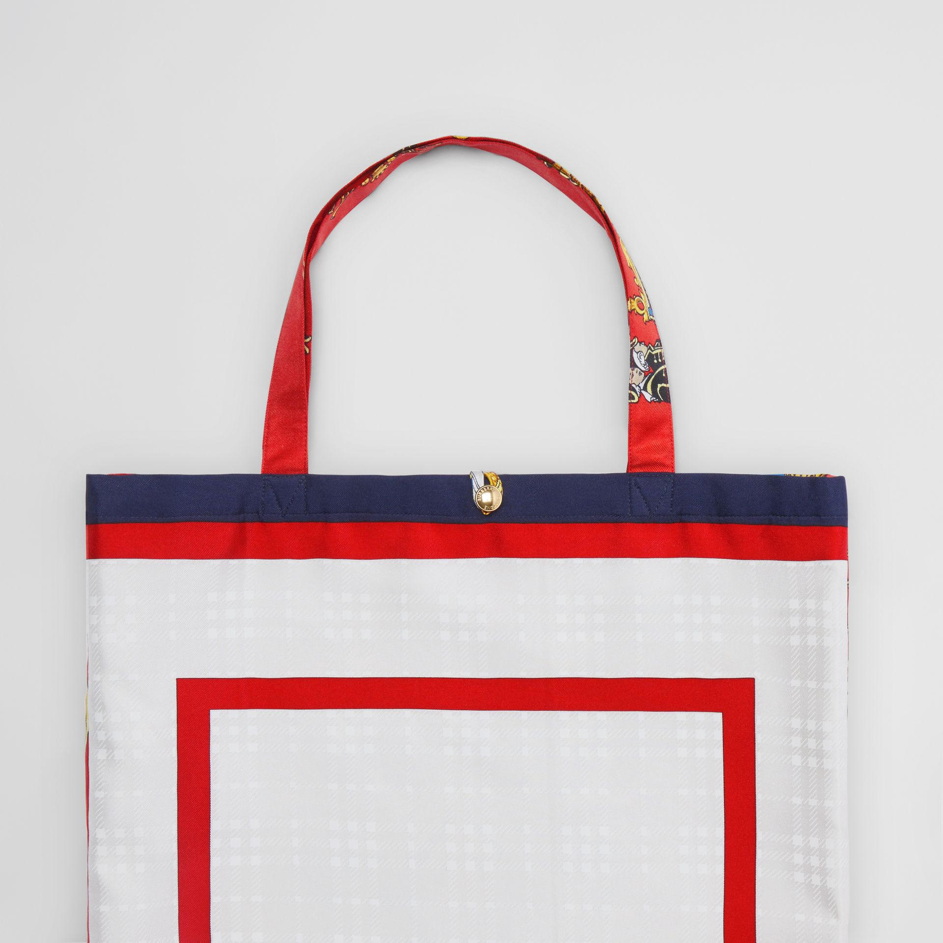 Archive Scarf Print Silk Tote in Bright Red/navy - Women | Burberry Australia - gallery image 1