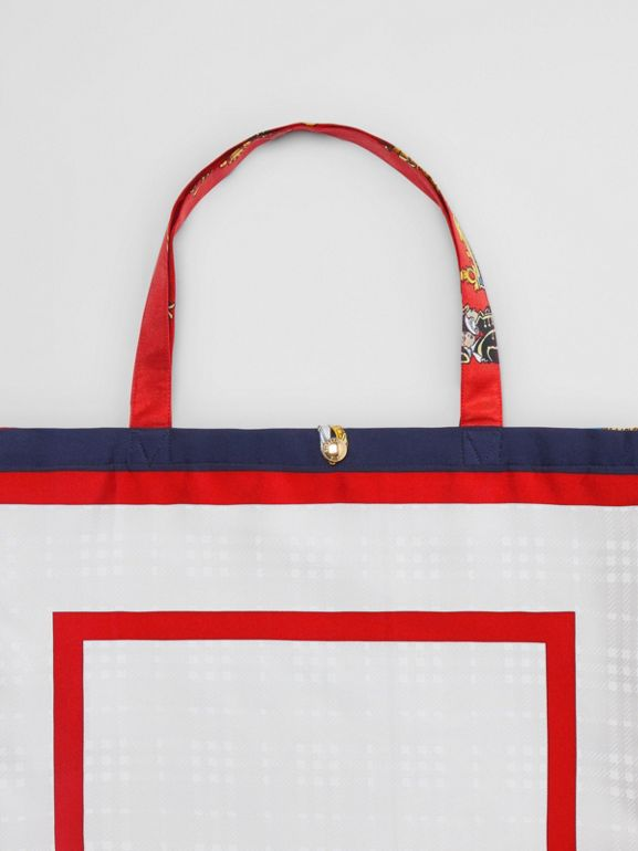 Archive Scarf Print Silk Tote in Bright Red/navy - Women | Burberry United Kingdom - cell image 1