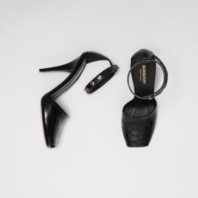 Triple Stud Embossed Leather Peep Toe Sandals by Burberry