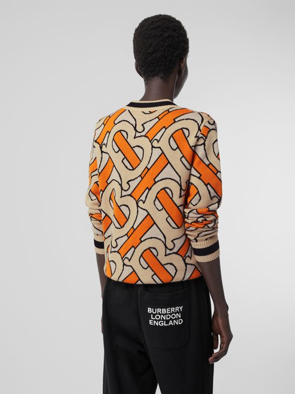 Monogram Intarsia Wool V-neck Sweater in Bright Orange - Women | Burberry Singapore - cell image 2