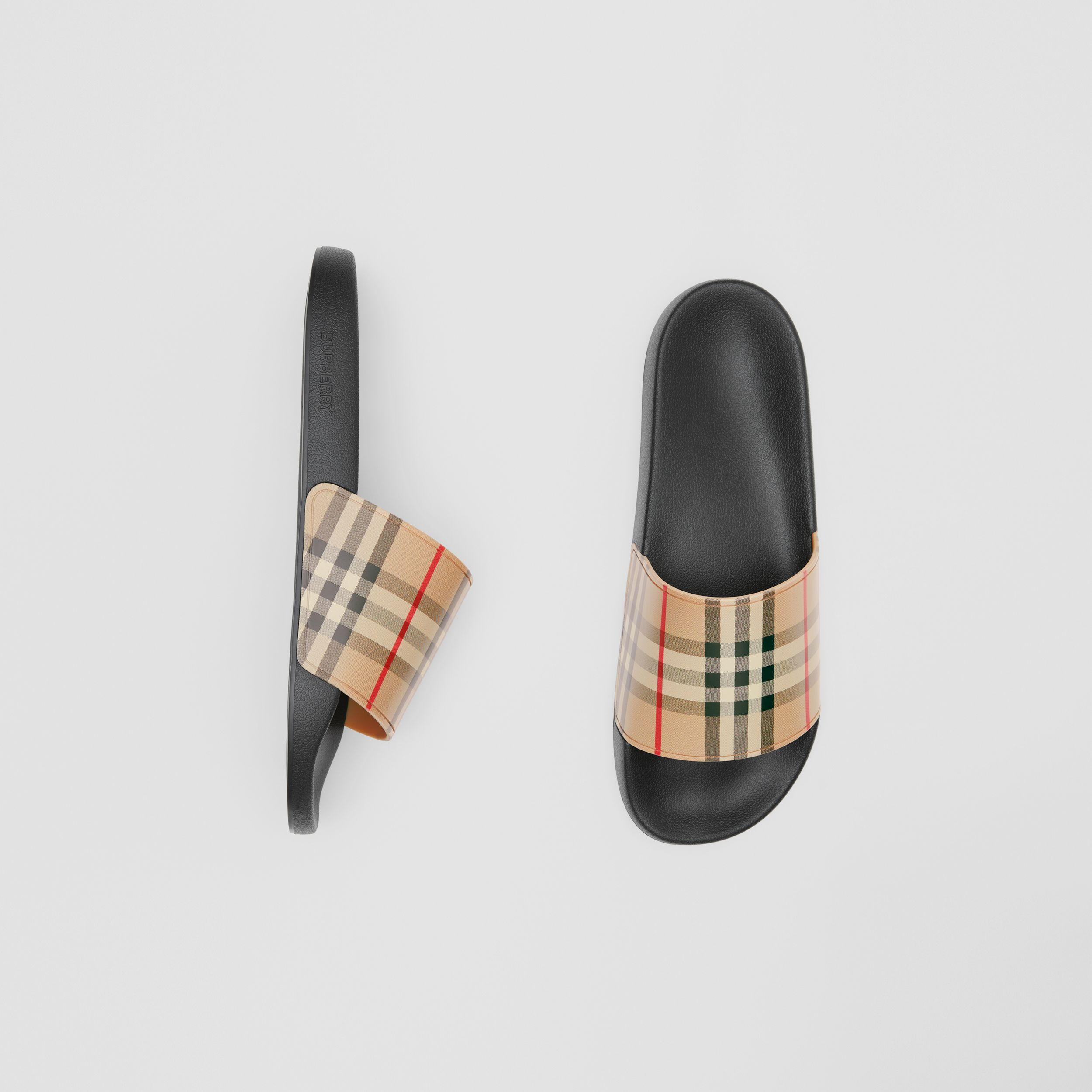 Vintage Check Slides in Archive Beige - Men | Burberry - 1