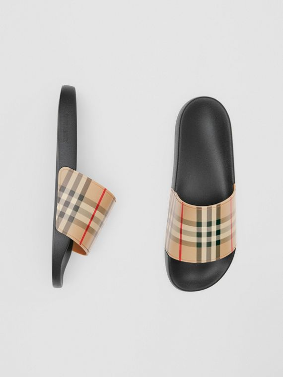 Vintage Check Slides in Archive Beige