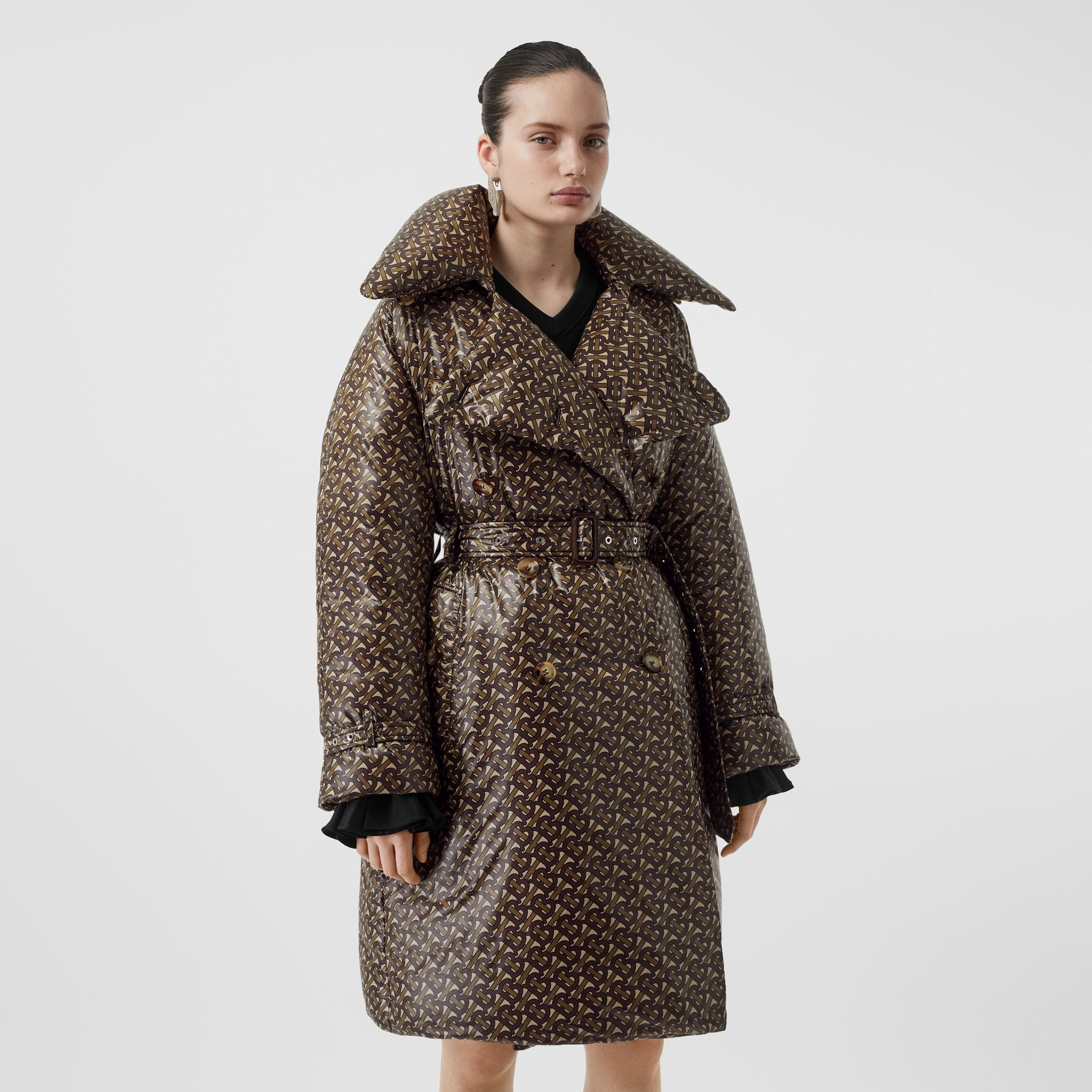 Monogram Print Nylon Down-filled Trench Coat in Bridle Brown - Women | Burberry - gallery image 6