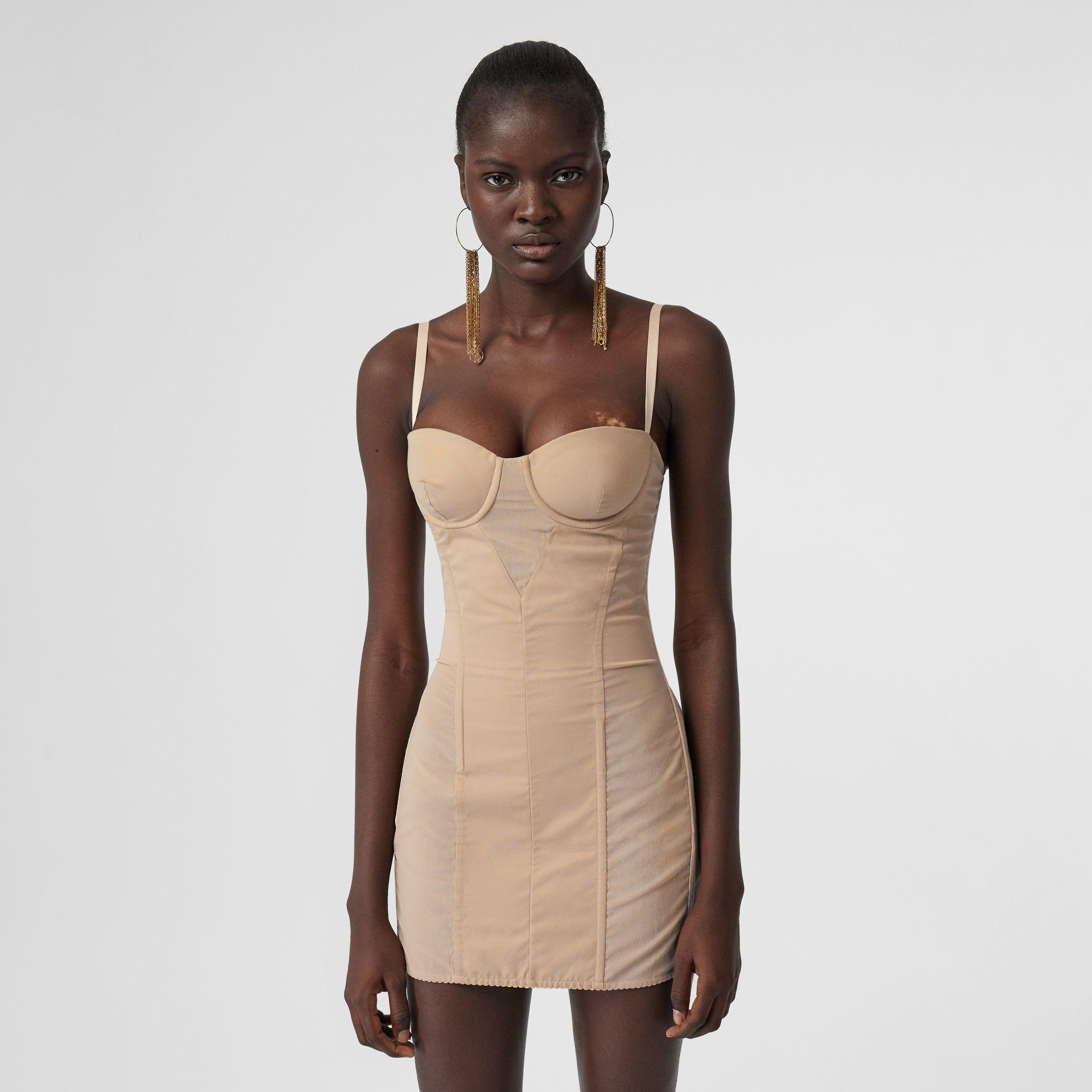 Cotton Gabardine Corset Dress in Honey - Women | Burberry - gallery image 0