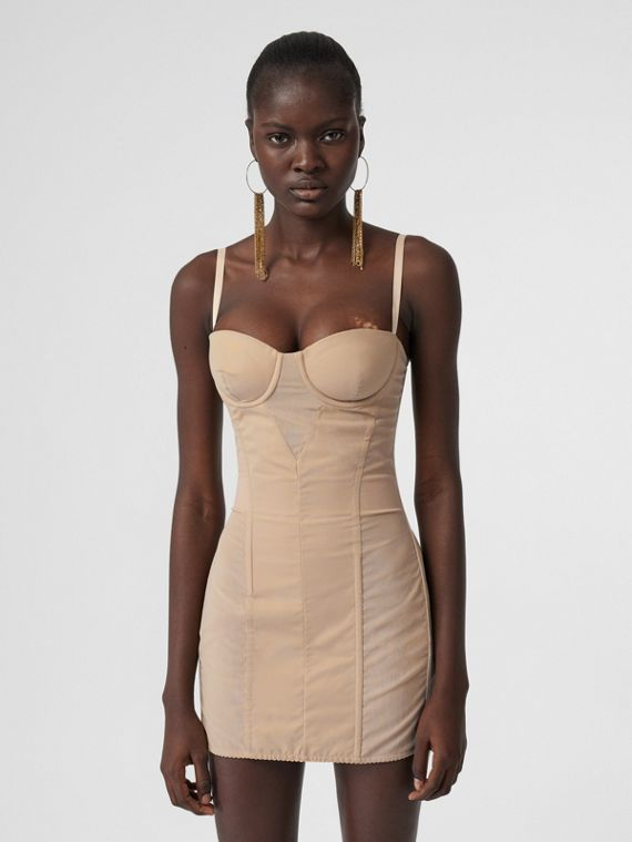 Cotton Gabardine Corset Dress in Honey