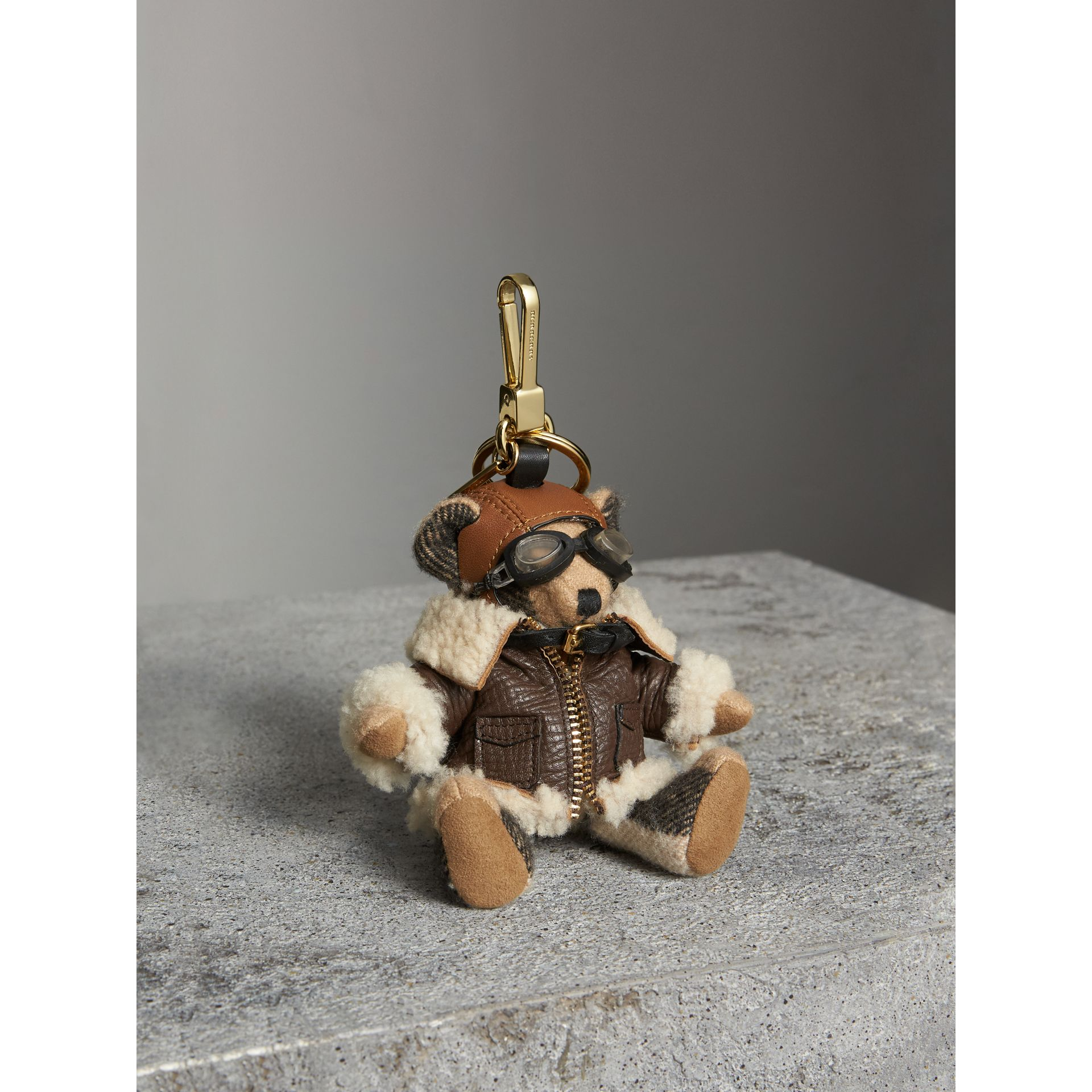 Thomas Bear Charm in Shearling Aviator Jacket in Camel - Women | Burberry Canada - gallery image 1