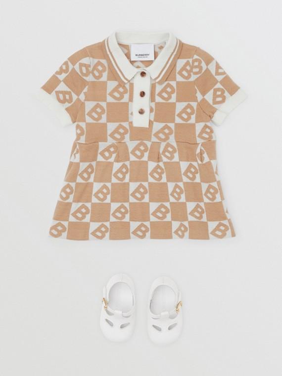 B Motif Cotton Merino Wool Cashmere Dress in Light Camel