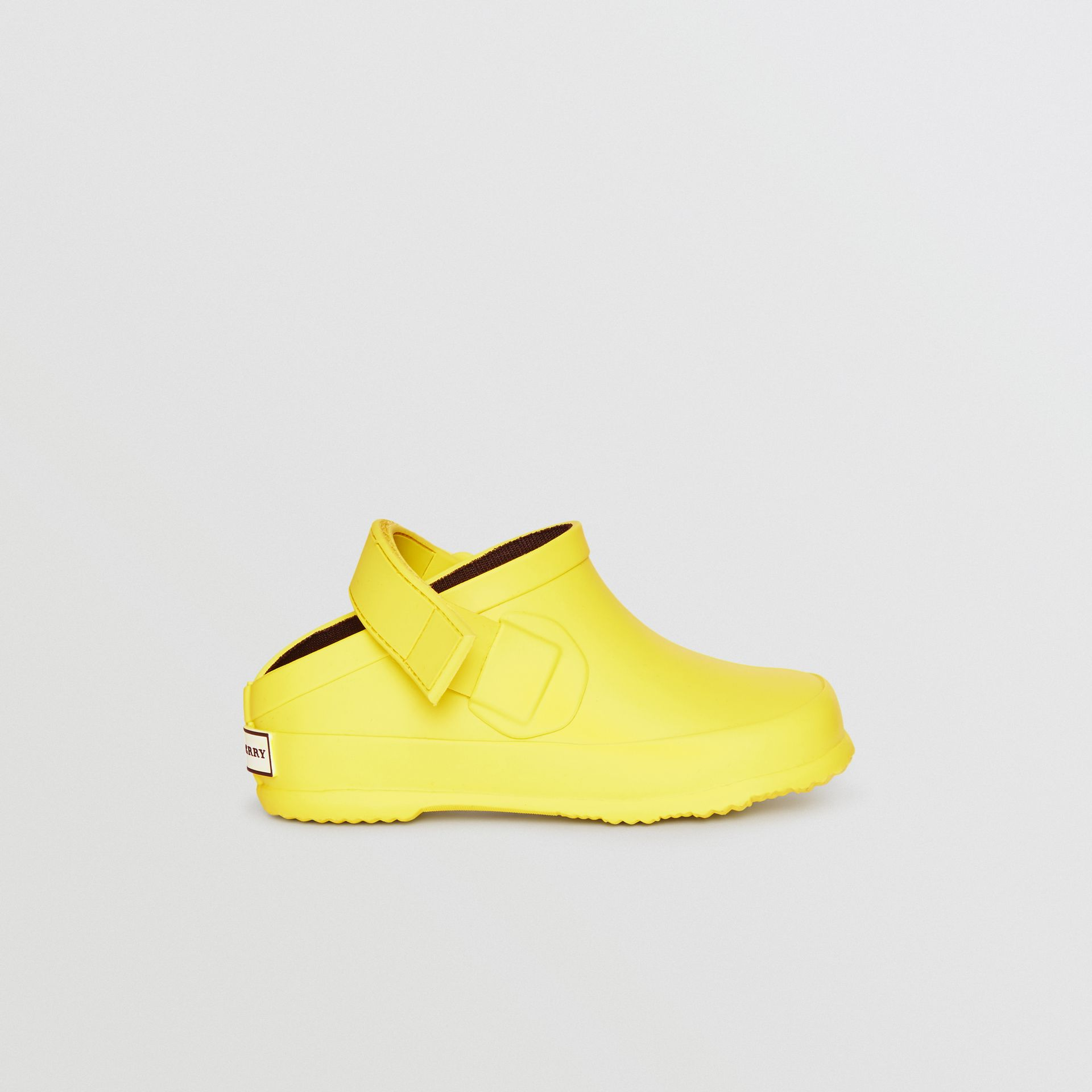 Check Detail Rubber Sandals in Citron - Children | Burberry - gallery image 3