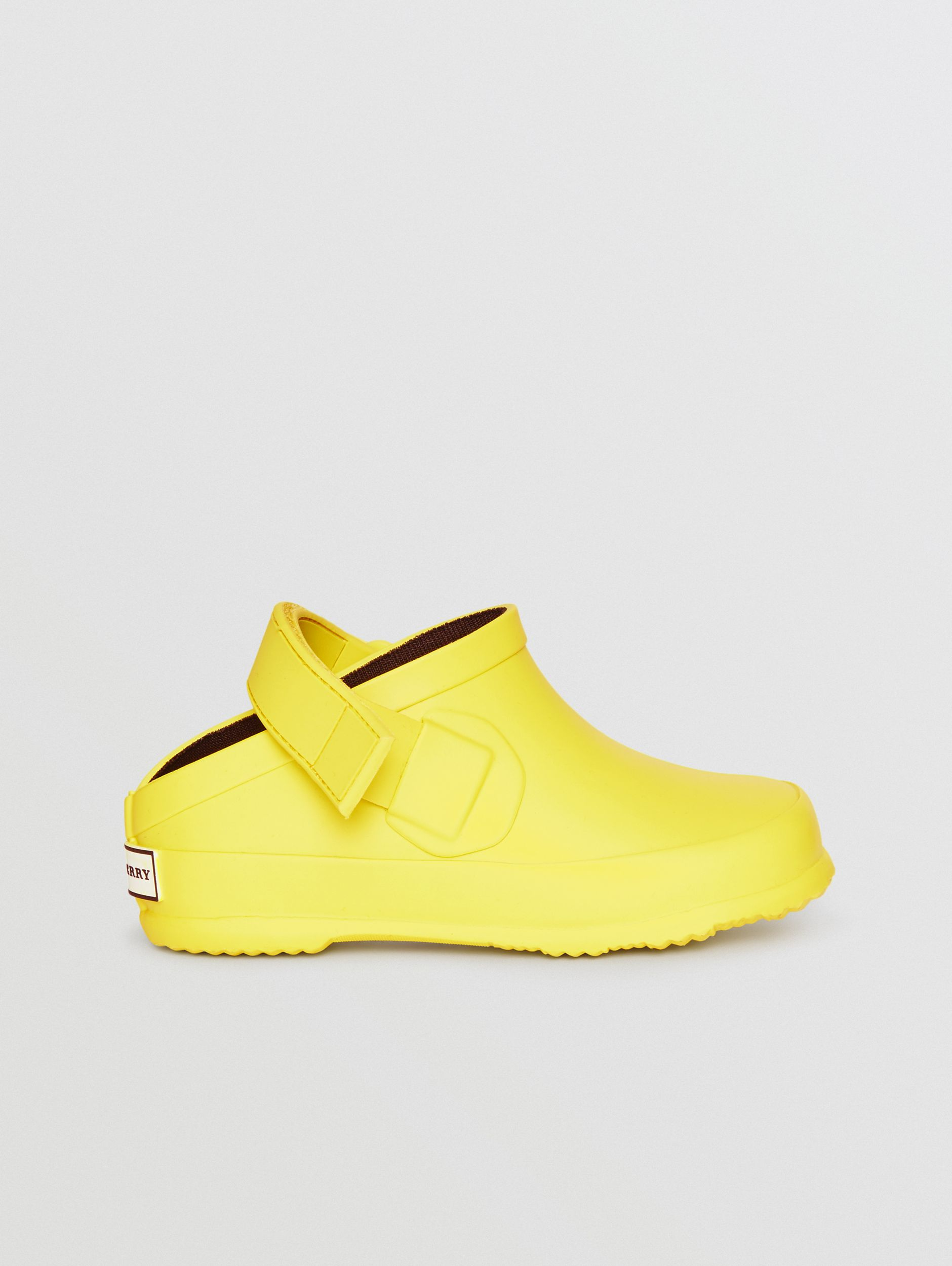 Check Detail Rubber Sandals in Citron - Children | Burberry - 4