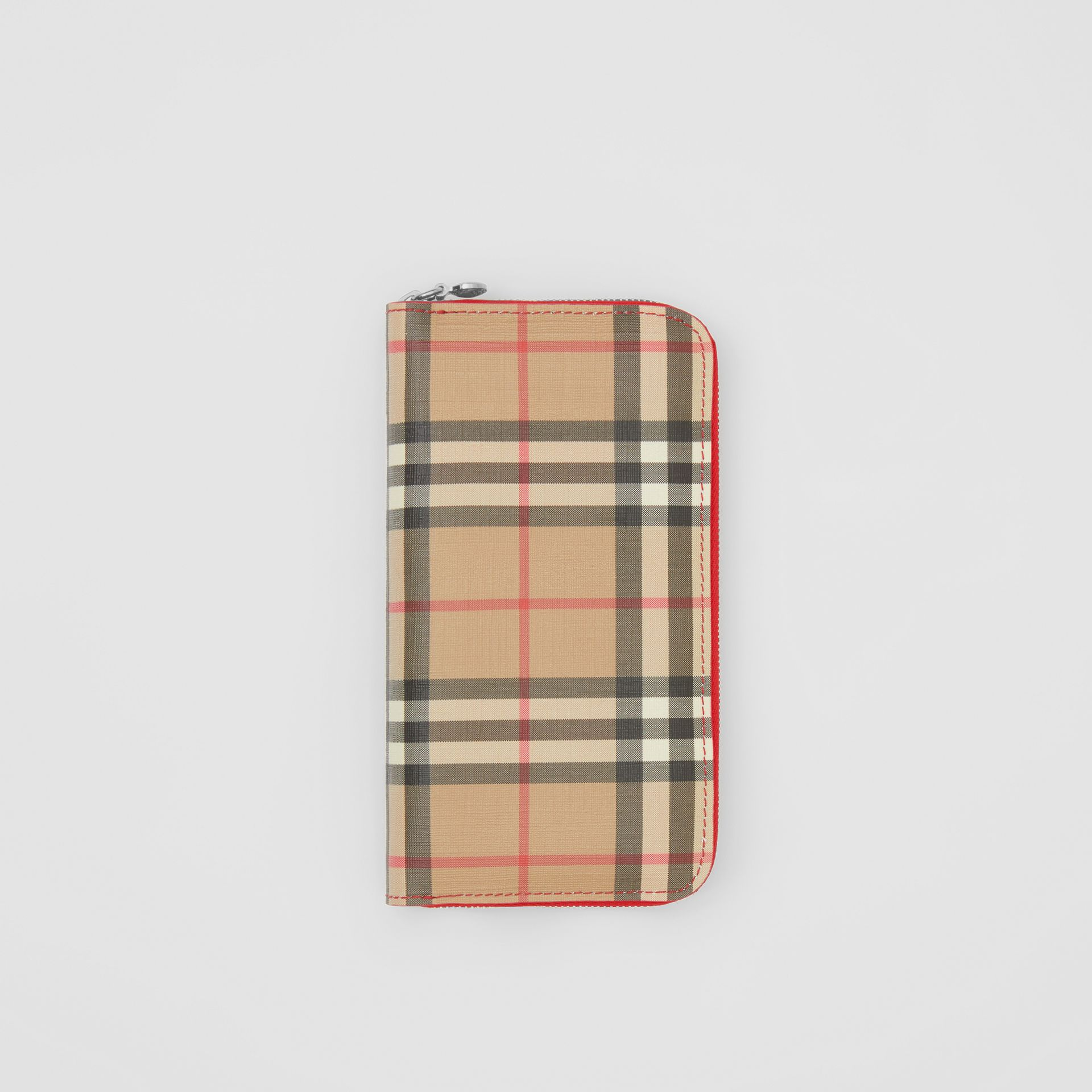 Vintage Check E-canvas and Leather Wallet in Bright Military Red - Women   Burberry United States - gallery image 0