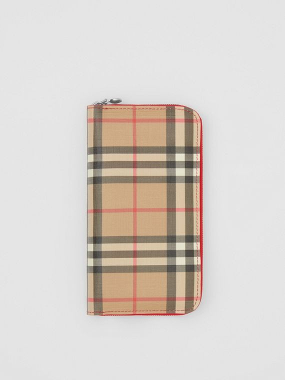 Vintage Check E-canvas and Leather Wallet in Bright Military Red