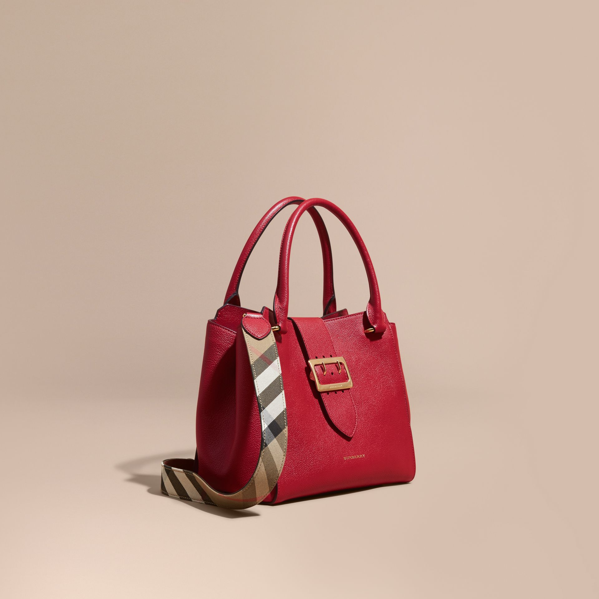 The Medium Buckle Tote in Grainy Leather in Parade Red - Women | Burberry - gallery image 1