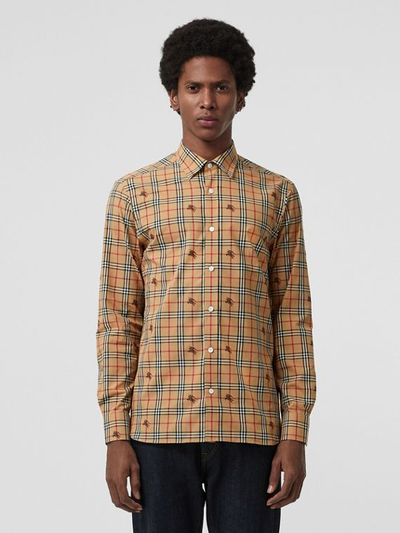 Equestrian Knight Check Cotton Shirt in Camel
