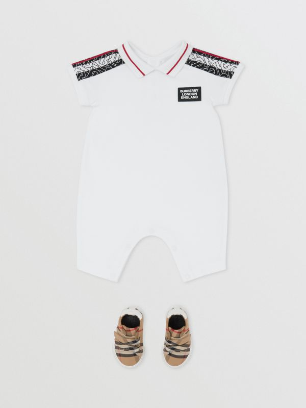 Monogram Stripe Print Cotton Jumpsuit in White - Children | Burberry United Kingdom - cell image 2