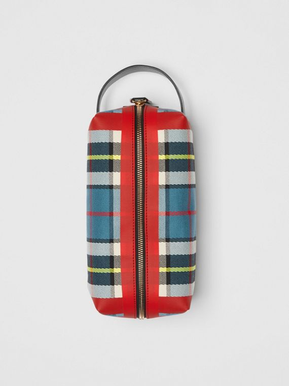 Tartan Cotton Pouch in Blue