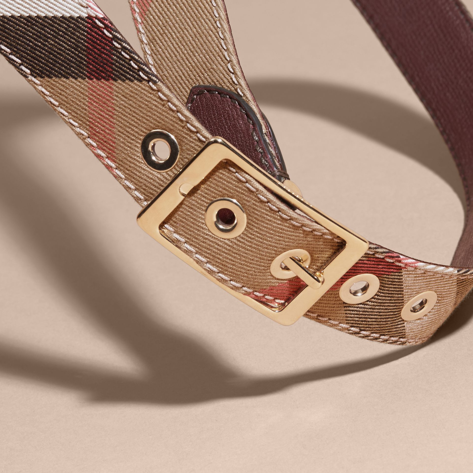 Camel/mahogany red Reversible House Check and Grainy Leather Belt Camel/mahogany Red - gallery image 2