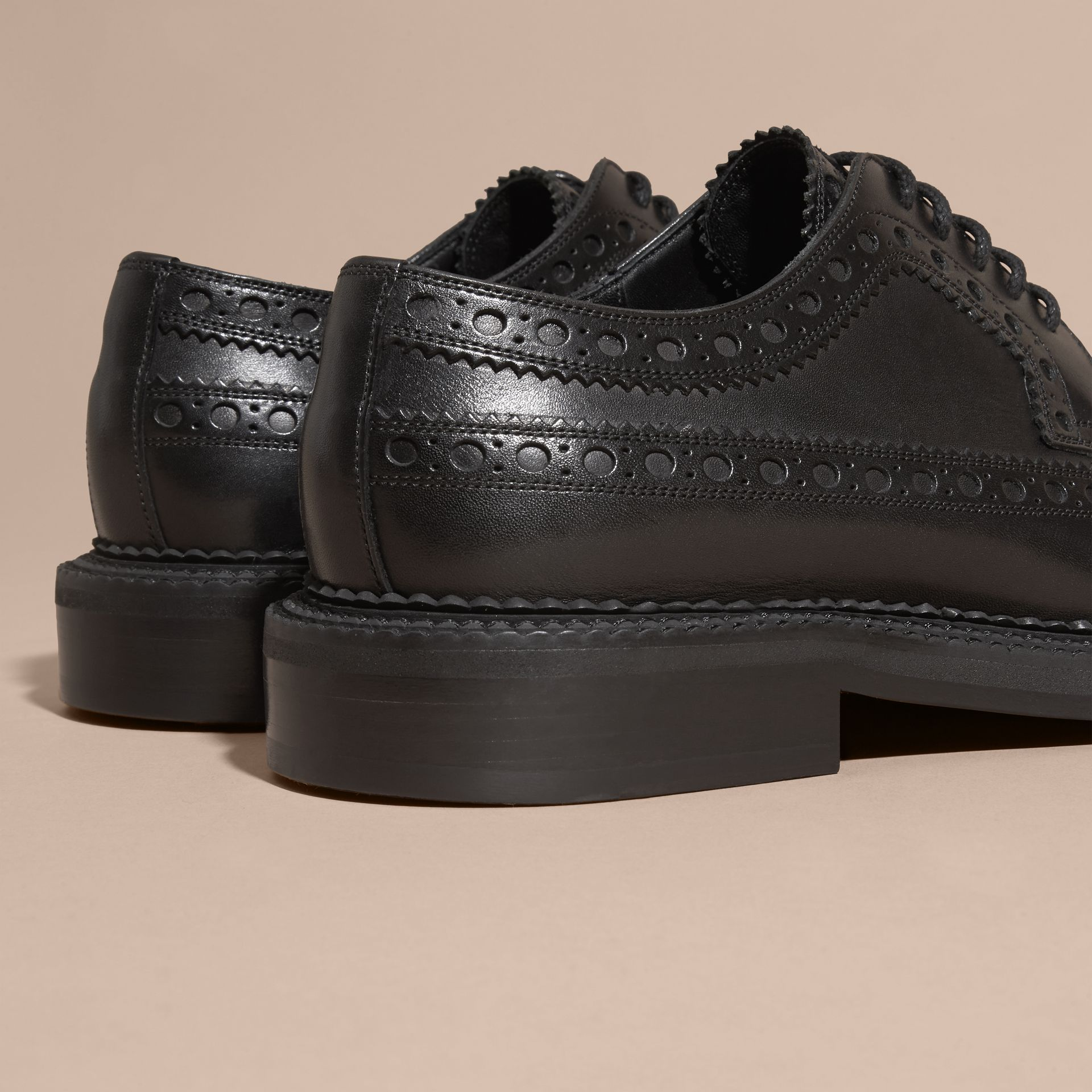 Leather Wingtip Brogues in Black - Men | Burberry - gallery image 4