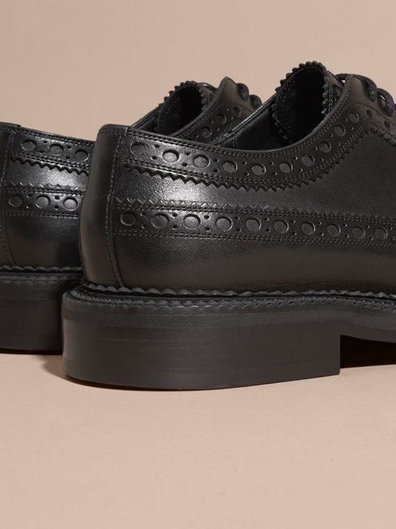 Leather Wingtip Brogues in Black - Men | Burberry Australia - cell image 3