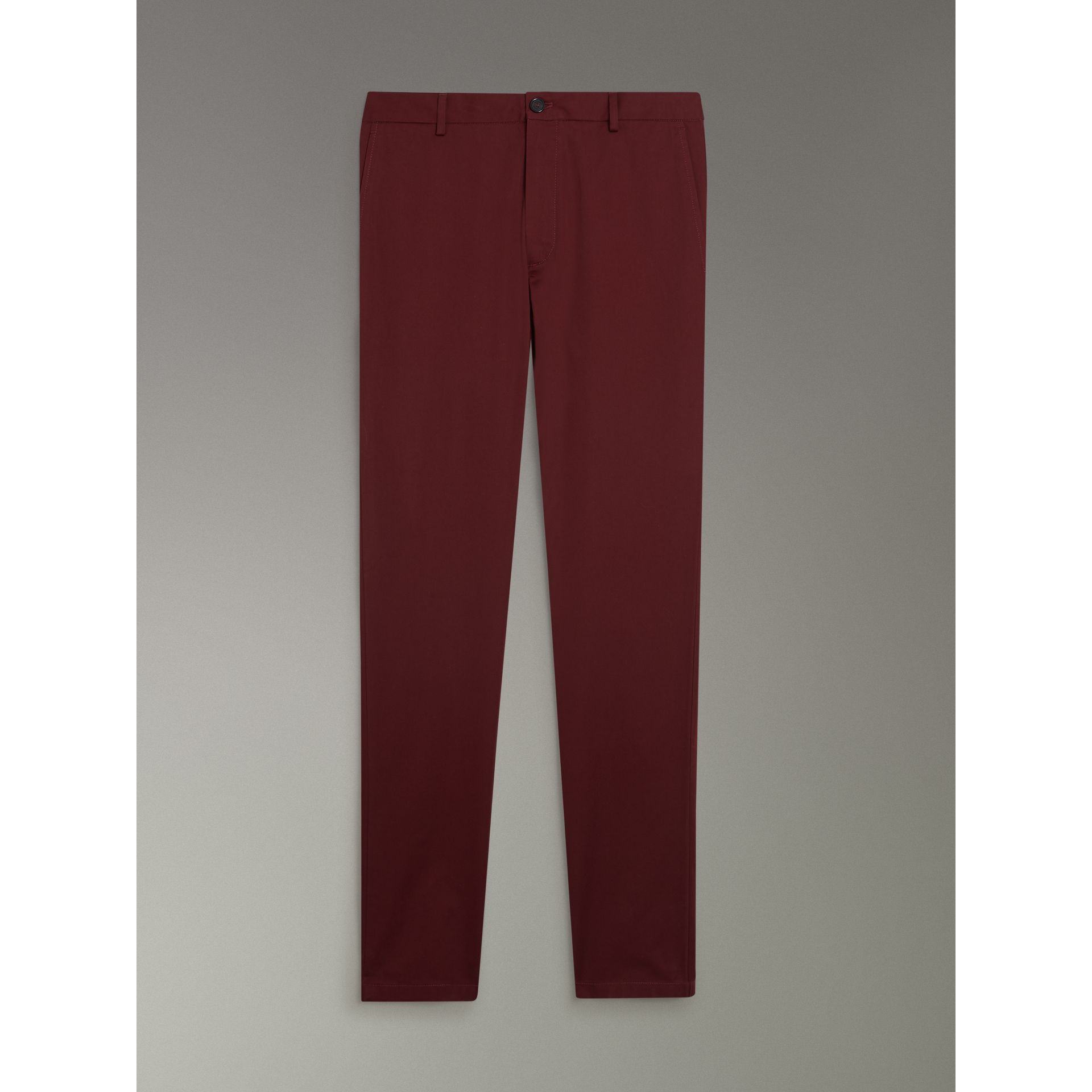 Slim Fit Cotton Chinos in Dark Crimson - Men | Burberry Australia - gallery image 3