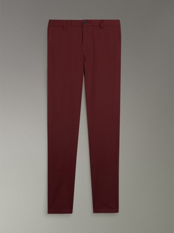 Slim Fit Cotton Chinos in Dark Crimson - Men | Burberry - cell image 3