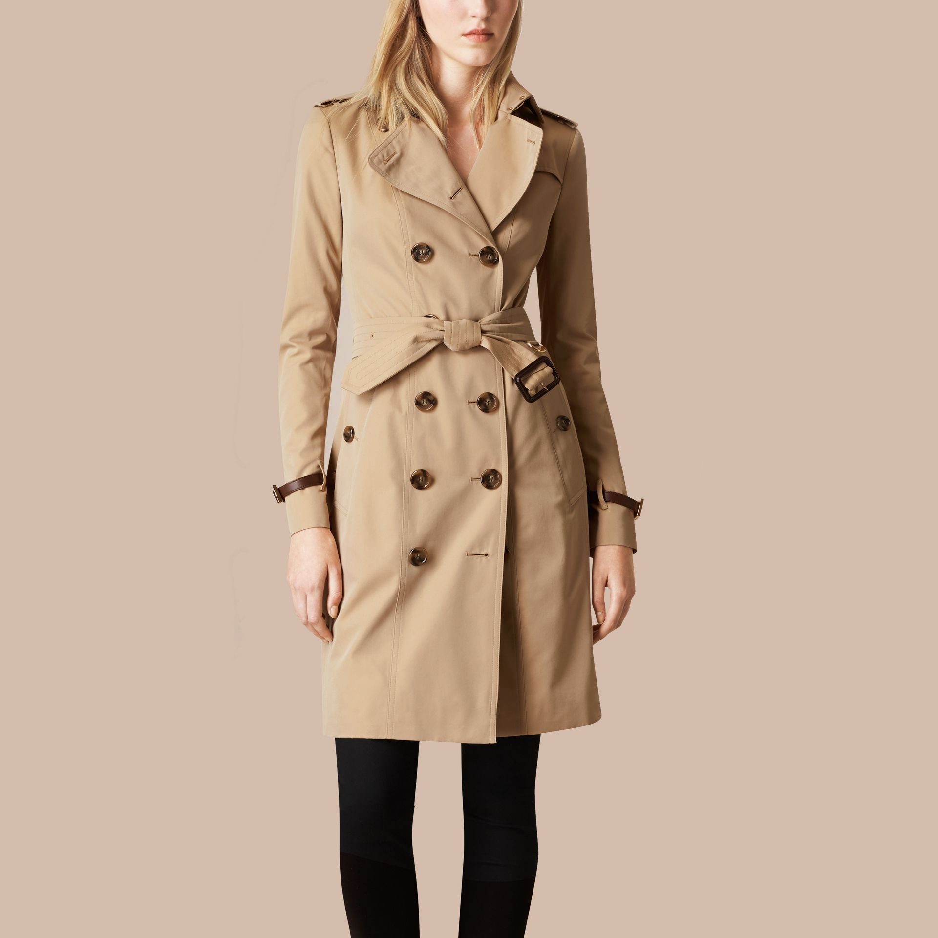 Honey Leather Trim Cotton Gabardine Trench Coat Honey - gallery image 4