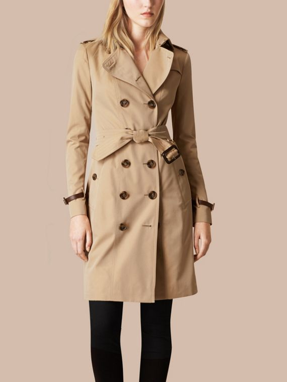 Miele Trench coat in gabardine di cotone con finiture in pelle - cell image 3