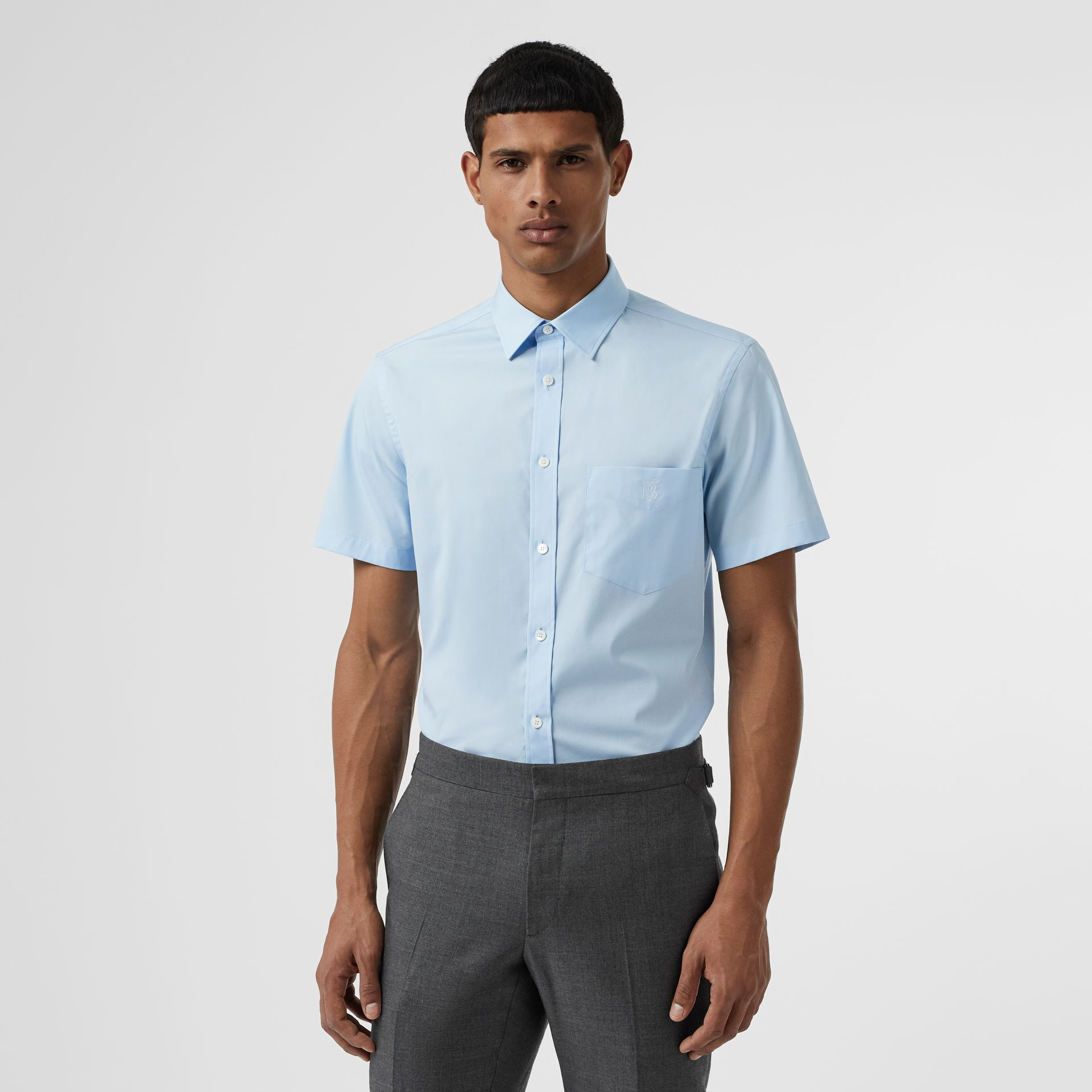 Short-sleeve Monogram Motif Stretch Cotton Shirt in Pale Blue - Men | Burberry United Kingdom - gallery image 4