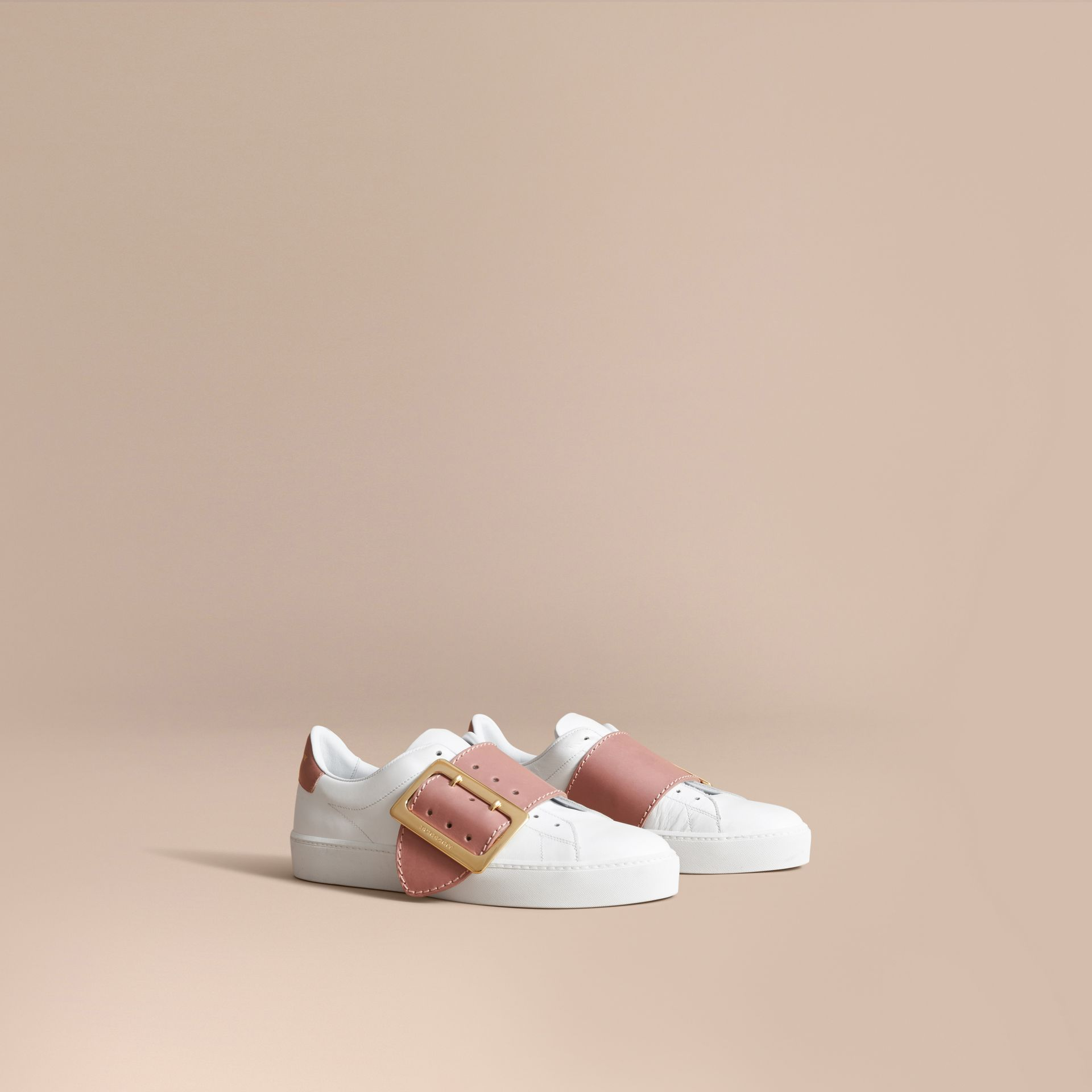Buckle Detail Leather Trainers in Pink Apricot - Women | Burberry - gallery image 1