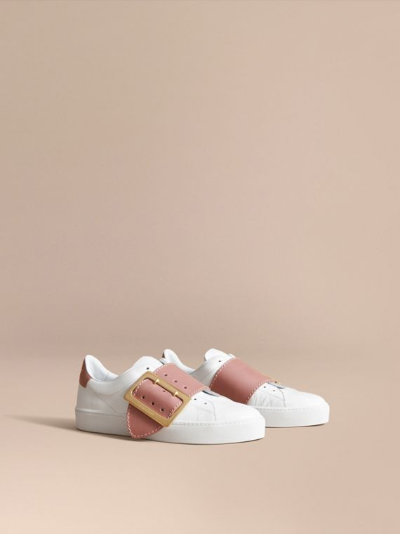Buckle Detail Leather Trainers in Pink Apricot
