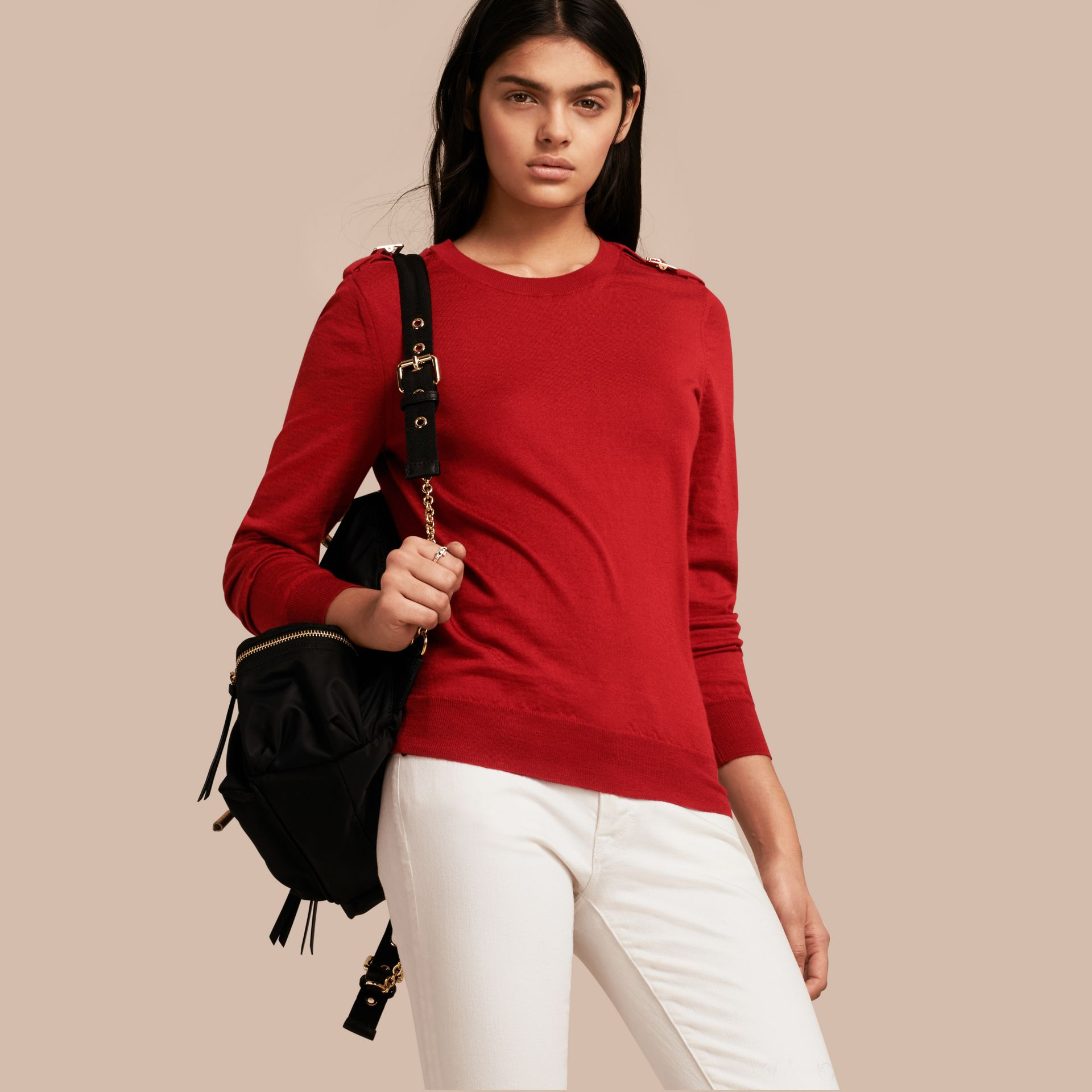 Buckle Detail Merino Wool Sweater in Parade Red - gallery image 1