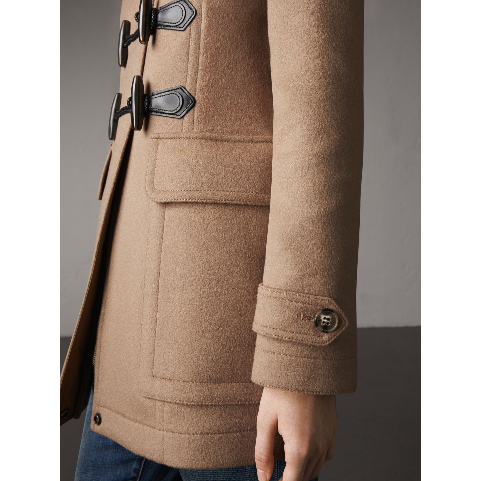 Fitted Wool Duffle Coat in New Camel - Women | Burberry - gallery image 2