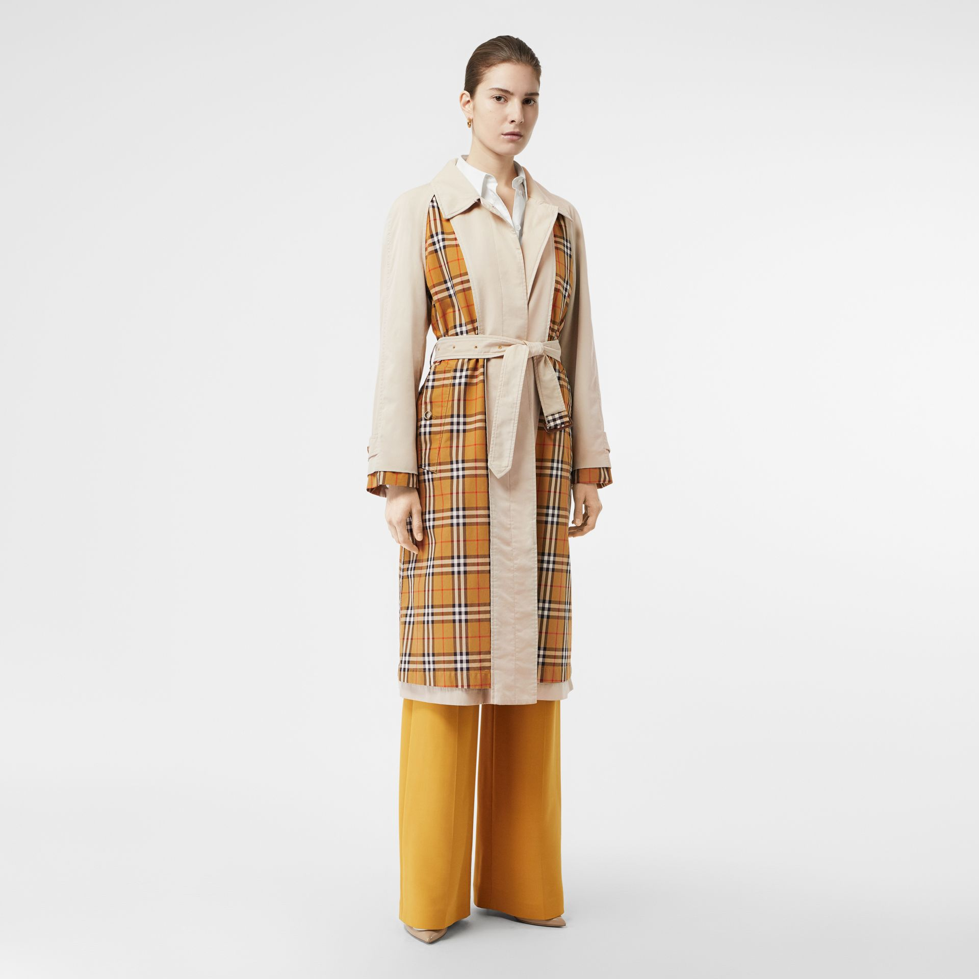 Vintage Check and Tropical Gabardine Car Coat in Stone - Women | Burberry - gallery image 0