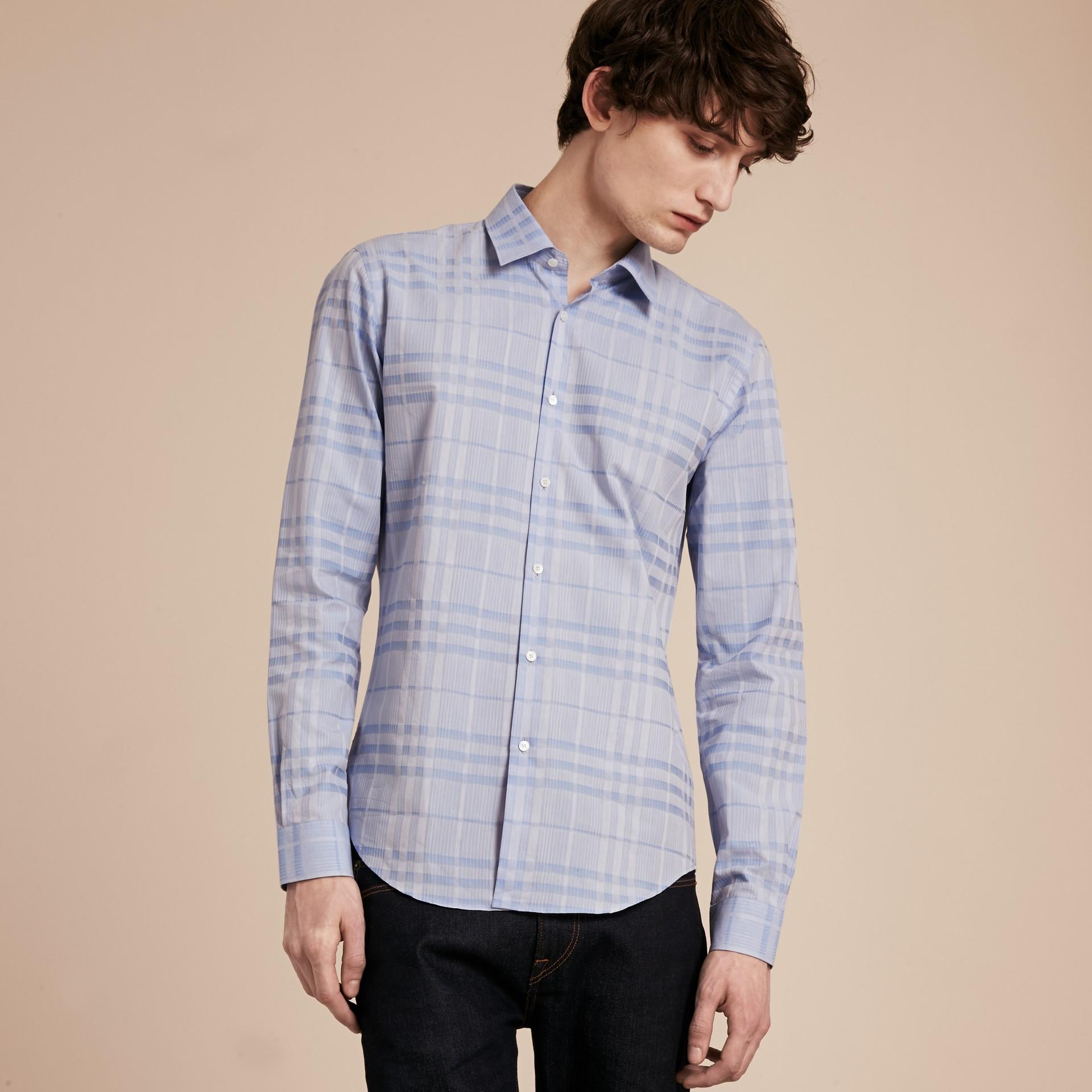 Bleu dragée Chemise en coton tissé en jacquard à motif check Bleu Dragée - photo de la galerie 6