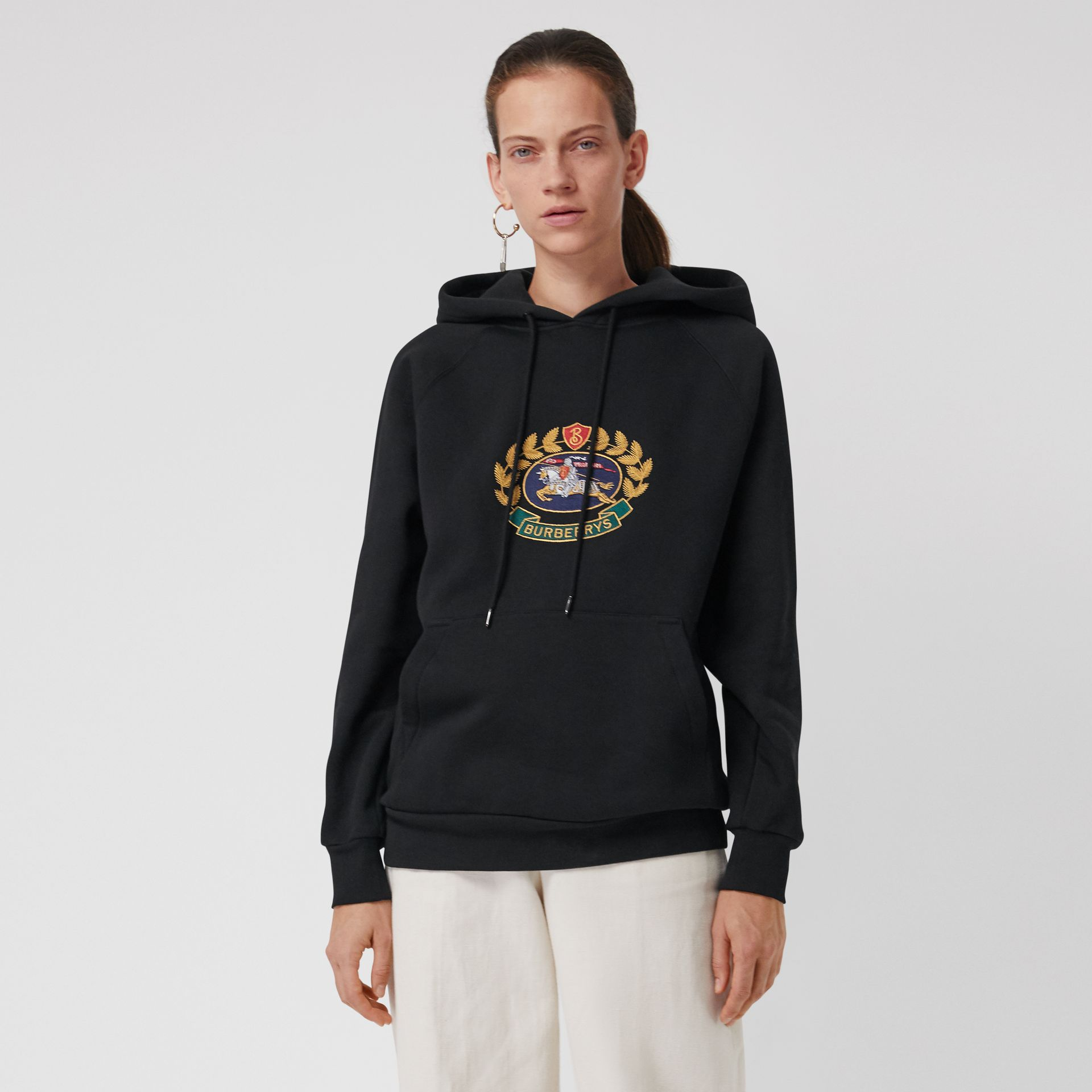 Embroidered Archive Logo Oversized Hoodie in Black - Women | Burberry - gallery image 4