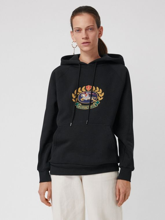 Embroidered Archive Logo Oversized Hoodie in Black