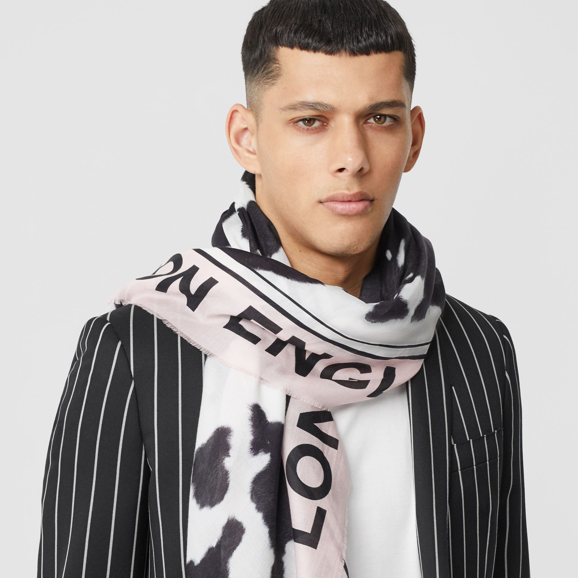 Cow Print Cotton Silk Large Square Scarf in Black | Burberry - gallery image 3