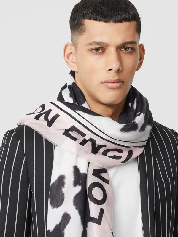 Cow Print Cotton Silk Large Square Scarf in Black | Burberry - cell image 3