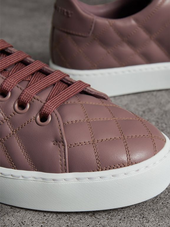 Check-quilted Leather Sneakers in Ivory Pink - Women | Burberry - cell image 1