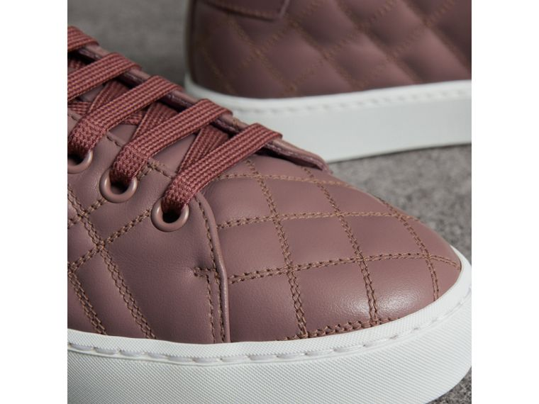 Check-quilted Leather Trainers in Ivory Pink - Women | Burberry Australia - cell image 1